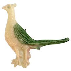 Vintage Celluloid Charm Pheasant Bird Early Plastics