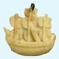 Vintage Celluloid Ship Charm Early Plastics