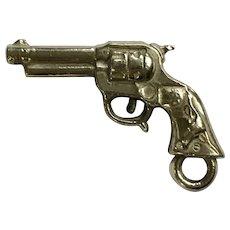Vintage Handgun Revolver Pistol Charm Early Plastics Jewelry