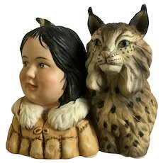 Winter Scouts by Gregory Perillo Little Indian with Bob Cat Figurine 1989