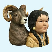 Noble Companions by Gregory Perillo Little Indian with Ram Figurine 1989