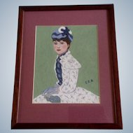 Estella Rhodes, Oil Painting, Portrait of a Young Woman, Painted on Artist Board, Signed by Artist