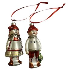 Girl and Boy Blown Glass Christmas Ornaments