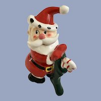 Vintage Santa Claus Holding a Stocking Figurine Japan