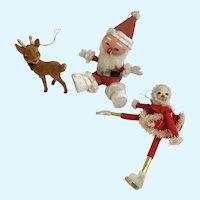 Vintage Flocked Rudolph Reindeer and Santas Ornaments