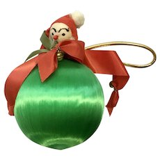 Vintage Santa Green and Red Christmas Ornament