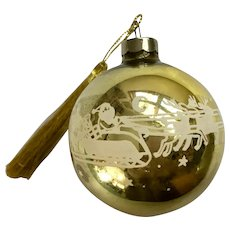 Vintage Golden Mercury Glass Ball Ornament With Santas Sleigh