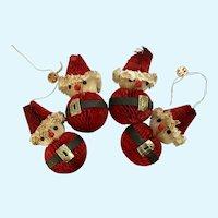 Vintage Holt Howard Honeycomb Paper Santa Ornaments HH Japan