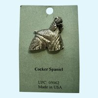 Cocker Spaniel Dog American Pewter Works 1986 Lapel Pin