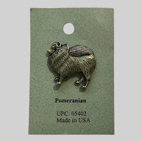 Pomeranian Dog American Pewter Works 1986 Lapel Pin