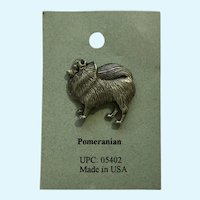 Pomeranian Dog American Pewter Works 1986 Lapel Pin