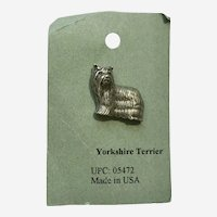 Yorkshire Terrier Dog American Pewter Works 1986 Lapel Pin