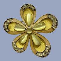 Monet Flower Yellow & Lime Green Sparkle Rhinestone Pin Brooch