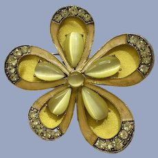 Monet Flower Yellow & Lime Green Sparkle Rhinestone Pin Brooch
