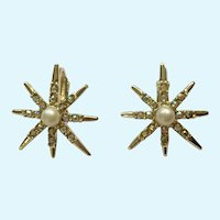 Aurora Borealis Rhinestone Sparkle Faux Pearl Star Burst Clip-on Earrings