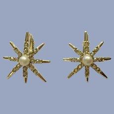 Aurora Borealis Rhinestone Sparkle Faux Pearl Star Burst Clip-on Earrings