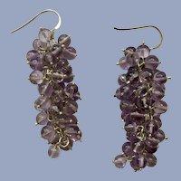 Sterling Silver 925 Light Purple Colored Beaded Drop Fishhook Earrings