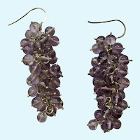 Sterling Silver 925 Light Purple Colored Beaded Drop Fishhook Earrings