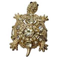 Gold-tone Turtle Ring with Faux Diamond Rhinestones Size 8