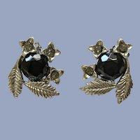 Silver-tone Floral Black Flower Sparkle Rhinestone Clip-on Earrings