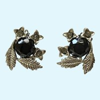 Silver-tone Floral Black Flower Sparkle Rhinestone Clip-on Earrings