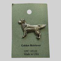 Golden Retriever Dog American Pewter Works 1986 Lapel Pin