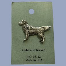 Golden Retriever Dog American Pewter Works 1986 Lapel Pin