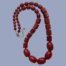 Beautiful Cranberry Acrylic Red Beaded Necklace