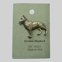 German Shepherd Dog American Pewter Works 1986 Lapel Pin