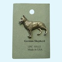 German Shepherd Dog American Pewter Works 1986 Lapel Pin