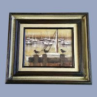 Klumb, Sailboats at Pier with Sandpiper Birds Painting