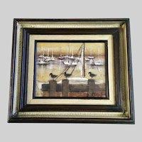 Klumb, Sailboats at Pier with Sandpiper Birds Painting