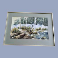 Kay Burnett Woodland Stream Landscape Watercolor Painting
