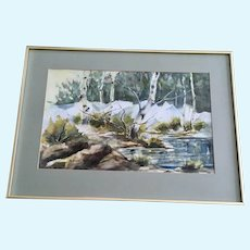Kay Burnett Woodland Stream Landscape Watercolor Painting