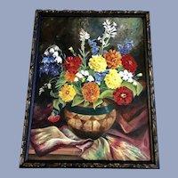 1937 Clara Caith Nelson Floral Still Life Oil Painting