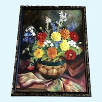 1937 Clara Caith Nelson Floral Still Life Oil Painting