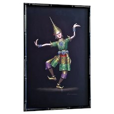 Vichitr, Thai Dancer Thailand Costume Figural Lady Gouache Painting on Silk Signed