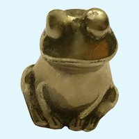 Vintage Solid Brass Frog Figurine, Paperweight or Statuette