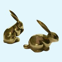 Vintage Solid Brass Bunny Jack Rabbit Figurines, Paperweights or Statuettes