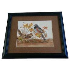 Joann Falk, Towhee Birds, Avian Watercolor Painting Works on Paper, Signed by Artist