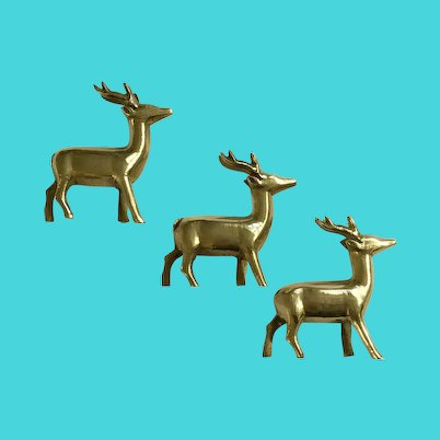 Vintage Solid Brass Deer Figurines, Paperweights or Statuettes