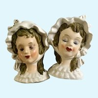 Rare Victorian Lady Salt & Pepper Shaker Bust Made in Japan