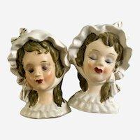 Rare Victorian Lady Salt & Pepper Shaker Bust Made in Japan