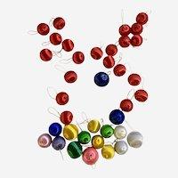 Vintage Satin Silk Christmas Small Balls Mixed Colors