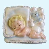 Mid-Century Rubens Planter #682 Child & Teddy Bear Japan Figurine