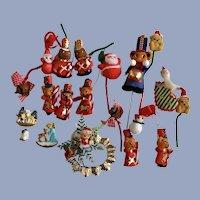 Vintage Christmas Decorations Bears Santa Elves and Diorama Scenes Group