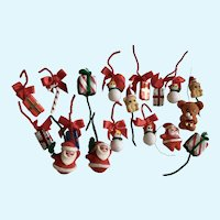 Vintage Christmas Decorations Pipe Cleaner Flocked Santas, Snowman and Bears