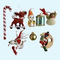 Vintage Christmas Ornaments Reindeer Drum Snowman Group