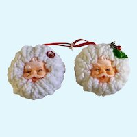 Vintage Christmas Santa Claus Rubber Face Balls with Yarn Decoration