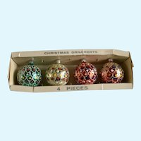 Mid-Century Jewel Brite Christmas Ball Ornaments Mercury Glass Hand Painted